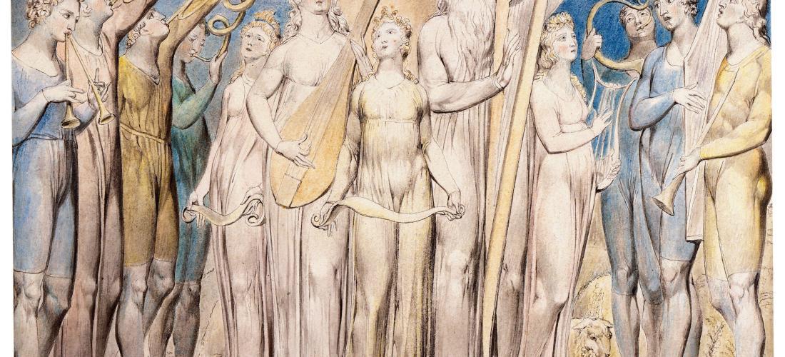 Job y su familia restaurados a la prosperidad (1805) por William Blake.